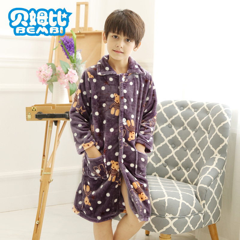 Slee Nightshirt For Kids Boy winter Flannel Pyjamas Warm Cardigan Robes Child font b lounge b