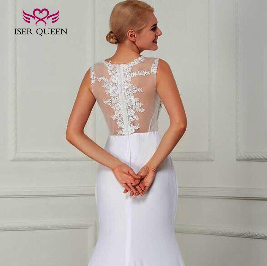 Vestido de novia de sirena sencillo de satén elástico de ilusión Sexy 2019 Color blanco de talla grande vestido de novia elegante W210 - 6