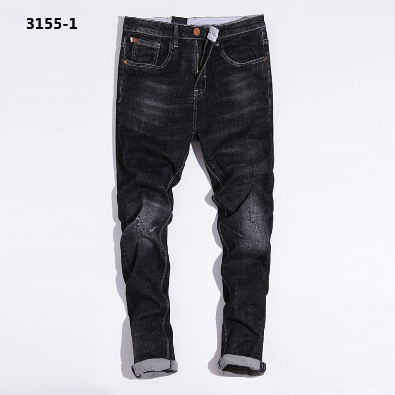 2017 Distressed Black Jeans Uomo Designer Stretch Jeans Men Pants Slim Fit Brand Clothing Mens Ripped Jeans Masculino 3155-1 rl629 men s blue jeans slim fit denim ripped pants uomo high quality designer brand clothing moto biker jeans with logo men