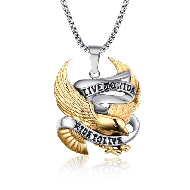 Meaeguet Fashion Eagle Necklace Pendants LIVE TO RIDE Biker Sport Men Gold Plated Stainless Steel Hero Jewelry