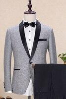 2017 Latest Coat Pant Designs Grey Tweed Shawl Lapel Men Suit Formal Blazer Prom Skinny Wedding Tailed Tuxedo 2 Pieces Terno H4