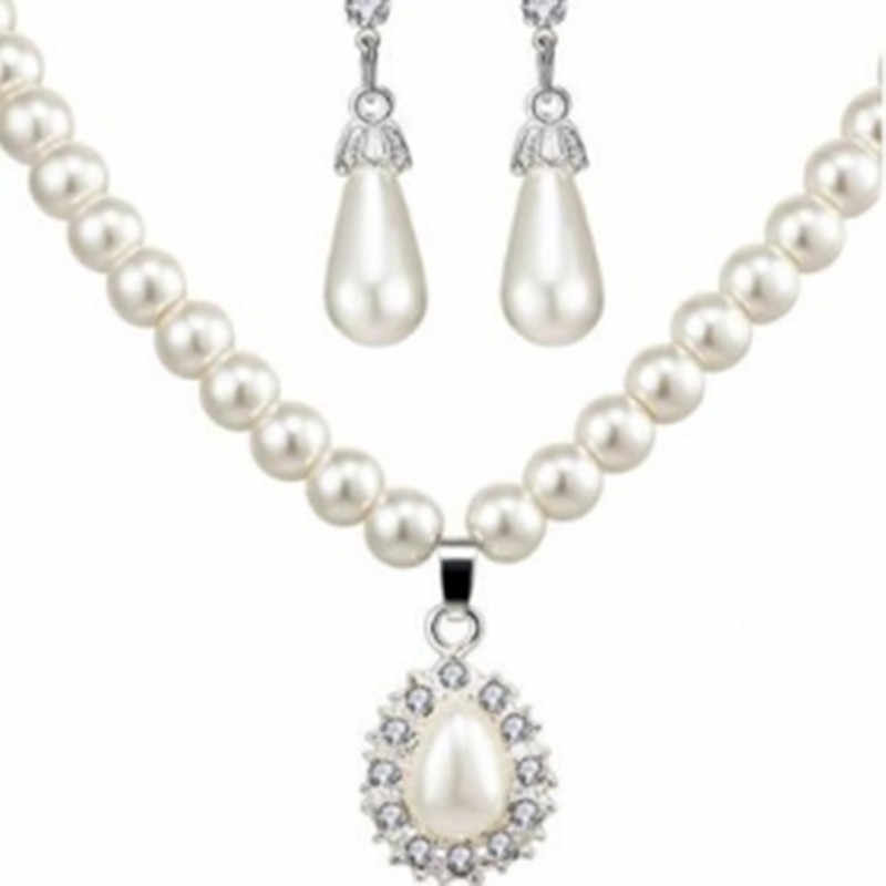 2018 conjunto de joyas de moda, collar de perlas, pendientes con tachuelas para mujer, collares de gota de agua al por mayor