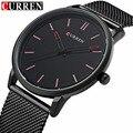 Moda top marca de luxo curren relógios homens cinta de malha de aço mostrador do relógio homens relogio masculino de quartzo-relógio ultra fino 8233