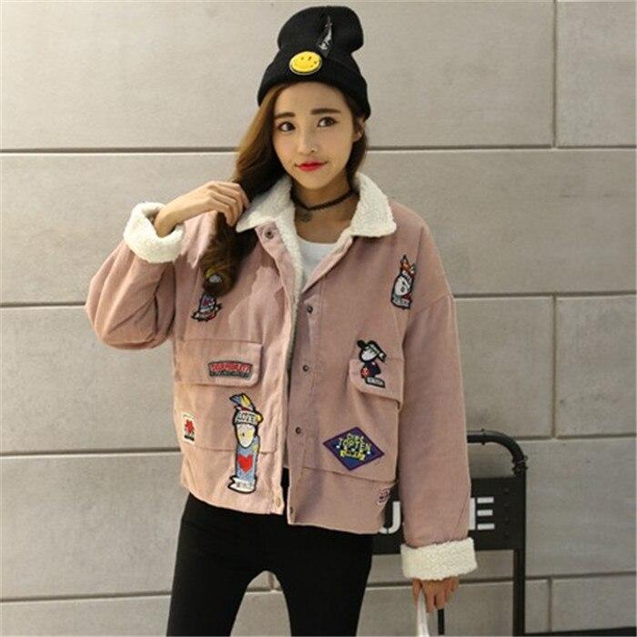 2016 Kore kış öğrencilerin tüm maç gevşek kuzu kürk yaka kadın kısa kaşmir kalınlaşmış kadife ile ceket pamuk