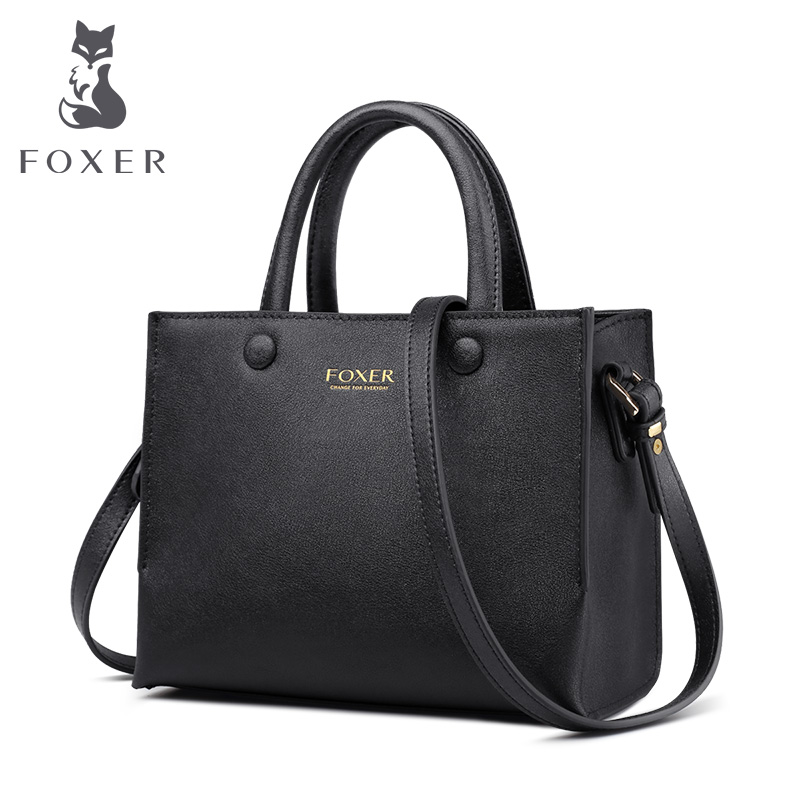 FOXER Brand New Office Lady Commuter Style Handle Bags Women Eangland Style Large Capacity Leather Female