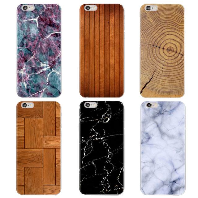 Case For iPhone 6s 6 Plus Wood Grain Ultra-Thin Marble Silicone Soft TPU Case For iPhone 7 8 Plus Case For iPhone X 5s 4s PC-023