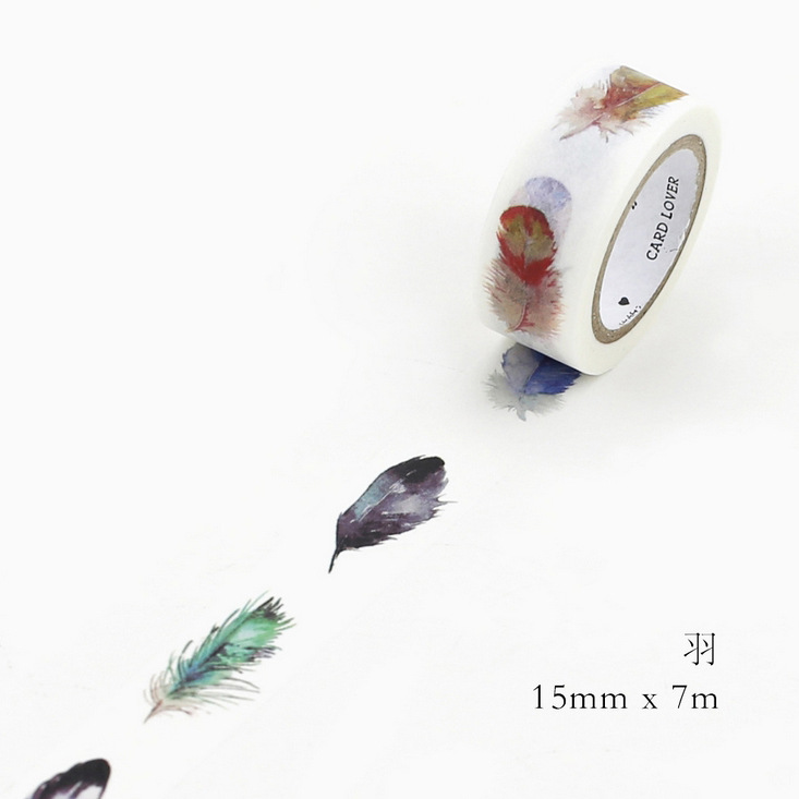 DIY 7M Cute Kawaii Decorative Washi Tape Lovely Feather Masking Adhesive Tape For Scrapbooking Creative fruit Butterfly Tape cute kawaii flowers feather cat swan animals decorative scotch tape adhesive masking washi tape paper stickers for scrapbooking