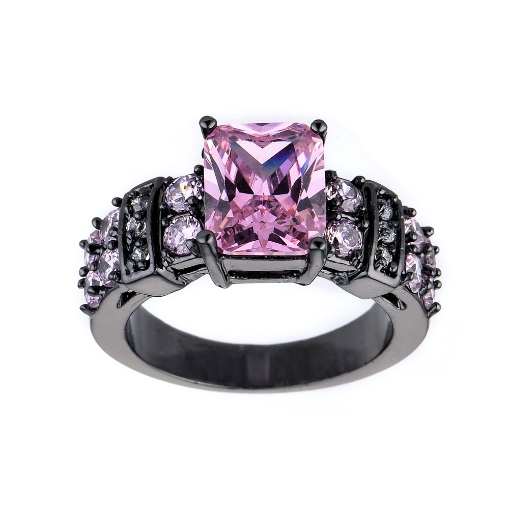 Antique Jewelry Black Gold Filled AAA Pink Zircon Rings For Female Male Wedding Party Engagement Finger Ring Bijoux Size 678910