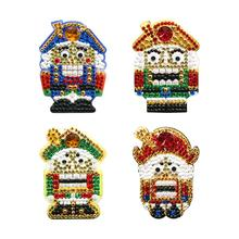 4Pcs/Set Christmas Gift For Friends Cartoon Diamond Painting Keychains Hang On The Bag Greeting Card for Children Gift p dyson prelude for organ greeting on christmas morning
