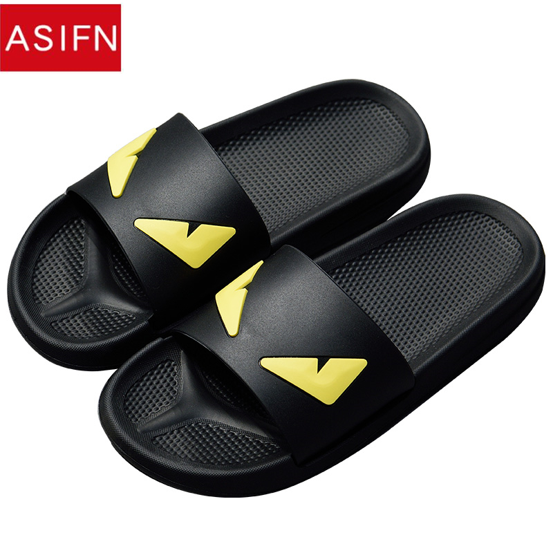 ASIFN Men's Slippers Flip Flops Message Slides Devil Eyes Summer Women Cartoon Male Shoes Two Different Soles Zapatos Hombre