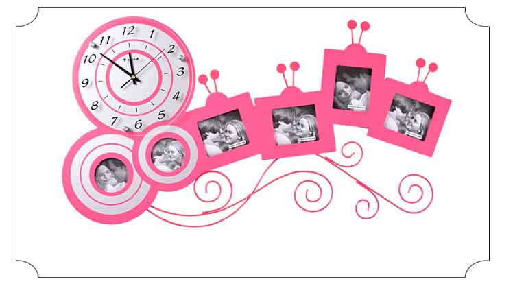 Big Photo Wall Clock With Picture Frame Living Room Wall Clock ...