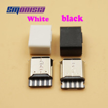 Smonisia 20pcs DIY Micro USB 2.0 B type Female 5 Pin Socket Solder Type Assembly Adapter Connector With plastic shell diy usb type b 4 pin female 90 degree dip socket connectors silver white 2 pcs
