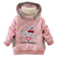 Kids Jackets 2015 Children Clothing Cartoon Rabbit Fleece Outerwear Girls Clothes Hooded Jacket Winter Coat Roupa