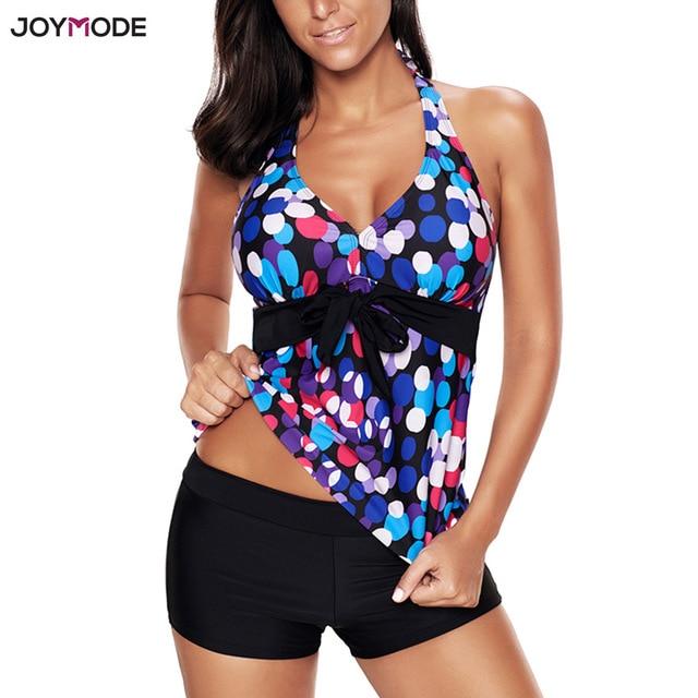 c9247c7b6eb JOYMODE Swimsuit Bikinis Set Tankini with Shorts Halter Fat Women Print  Swimwear Plus Big Size Bathing Suit Cover Ups Beachwear