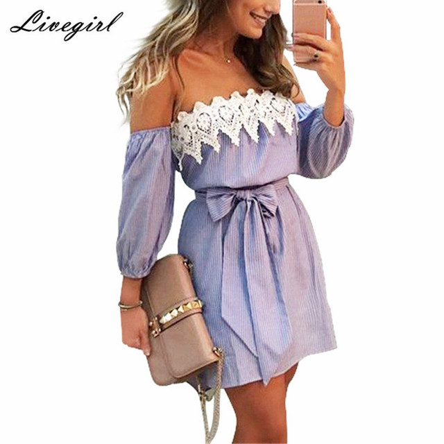 0de5f3c20641 Off Shoulder Blue Striped White Applique Mini Dress Women Slash Neck  Lantern Sleeve Casual Sexy Short