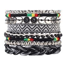 Newei 2015 Hot Luxury Weave Bead Handmade Bracelet Novelty Multilayer Bohemia Sequins Bracelets Bangle Jewelry For Girl Women(China)