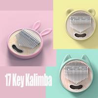 Newest 17 key Kalimba Mbira Thumb Fingertips Piano Cute Cartoon Rabbit Cat Bear Keyboard Instrument for Girl Kids Beginner Gifts
