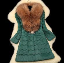 Real Piece Mink Fur Coat Jacket Fox Fur Collar Winter Women Fur Outerwear Coats Trench Overcoat 3XL 4XL X-Long 100% natural fur