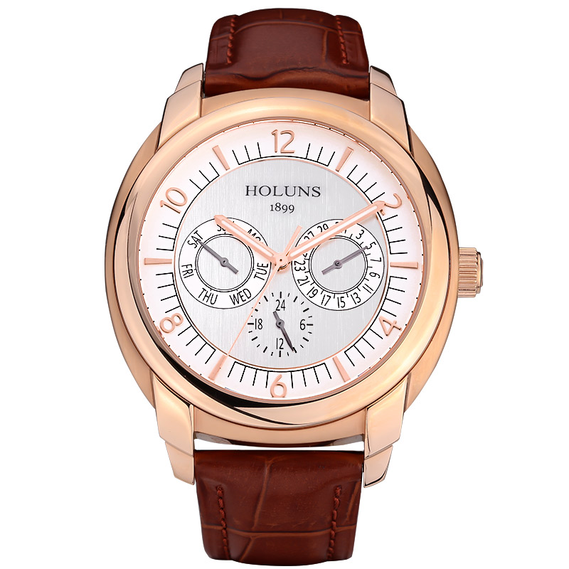 Luxury  HOLUNS watch men sapphire Stainless steel waterproof date leather big dial quartz watch relogio masculine holuns watch women sapphire glass white dial quartz waterproof multicolor red leather strap watch