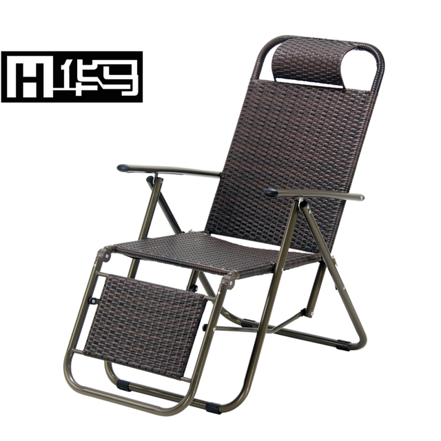 Rattan Folding Chair Recliner Chairs Office Nap Balcony Outdoor Household  Portable Single Bed Siesta