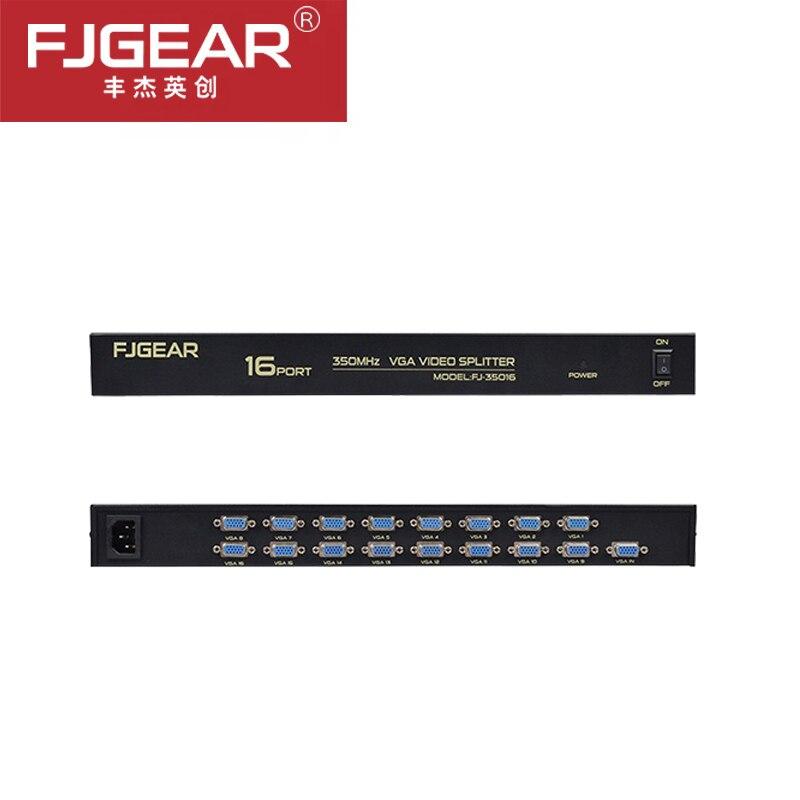 Séparateur VGA 16 ports 350 MHz 1 entrée à 16 sorties distributeur vidéo Multiple pour écran large LCD projecteur 35016