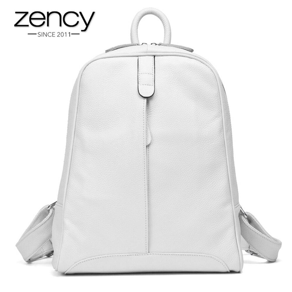 Zency 100% Véritable Mode En Cuir sac à dos pour femme décontracté nouveau jouet de Style Preppy Fille Cartable Ordinateur Portable Ordinateur Portable Sac À Dos