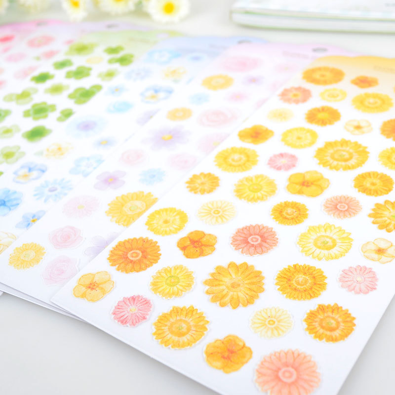 Fresh Flowers Decorative Washi Stickers Scrapbooking Stick Label Diary Stationery Album Stickers