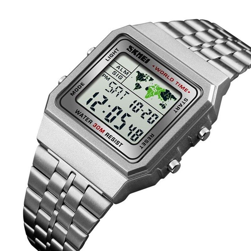 Reloj deportivo Digital LED para hombre reloj Masculino Relojes de pulsera  impermeables militares de acero inoxidable cb6fa30564cb