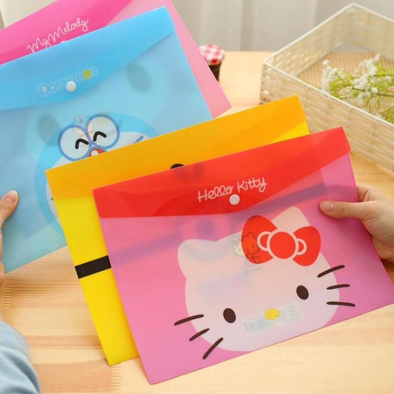 Korean Creative Cartoon Hello Kitty A4 File Bag Cute Doraemon Office School Archives Information Bag