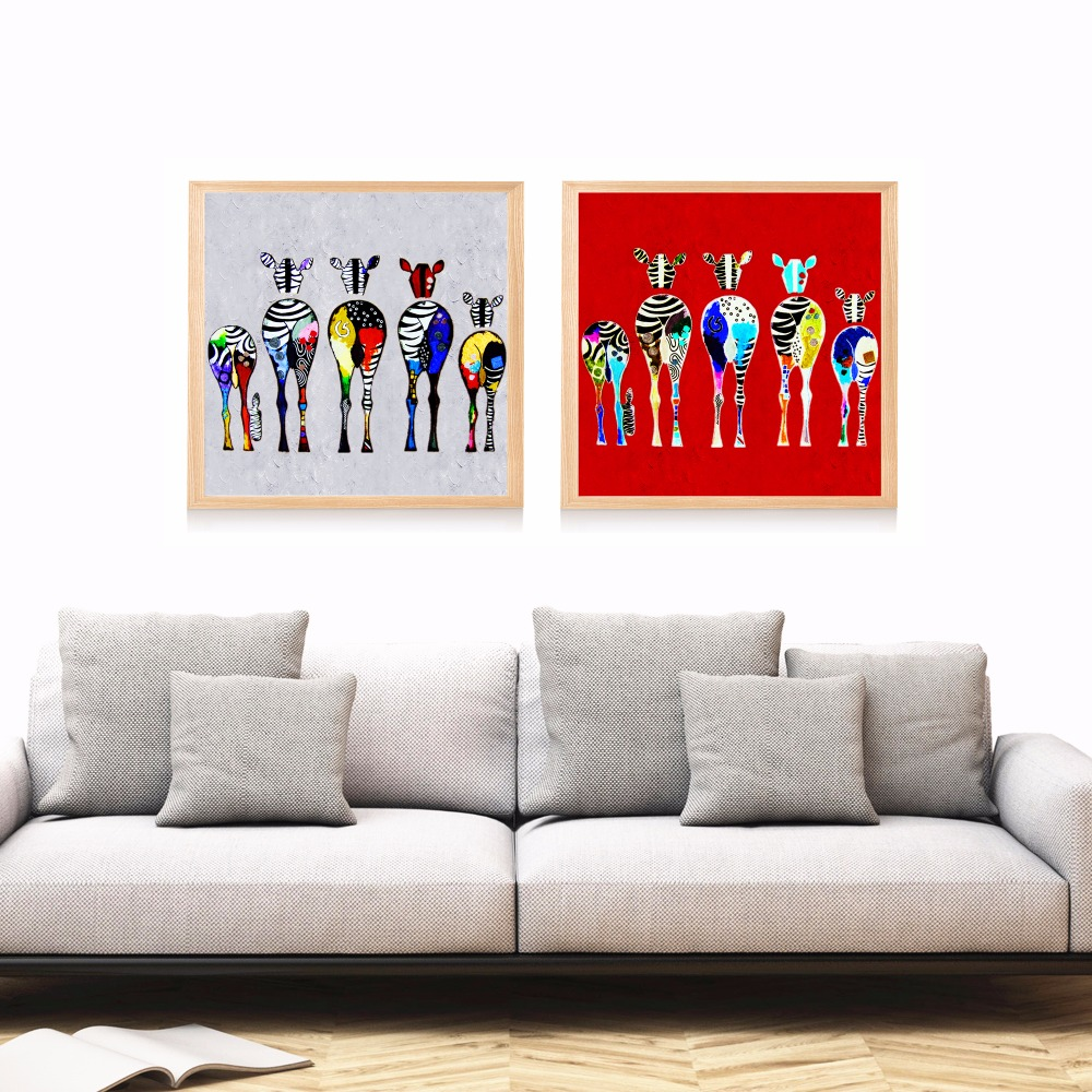 Colorful zebra family artwork canvas art print painting - Family pictures on living room wall ...