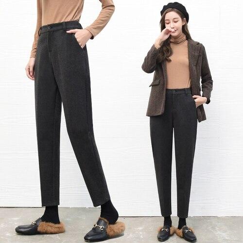 En la vida Real, pantalones de traje, mujeres, otoño e invierno, nueve puntos, rábano suelta, vestido de cintura alta, pierna recta, Haren.