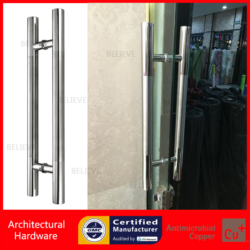 Modern Entrance Door Handle 304 Grade Stainless Steel Polish and Brushed Pull Handles For Glass/Wooden/Frame/Metal Doors PA-102A antimicrobial environmental wood pull handle pa 710 entrance door handles for entry glass shop store doors
