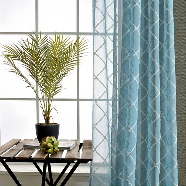 US $18.65 |Moderne Embroidered tulle sheer curtain for bedroom or living  room window rideaux pour le salon moderne 0116-in Curtains from Home &  Garden ...