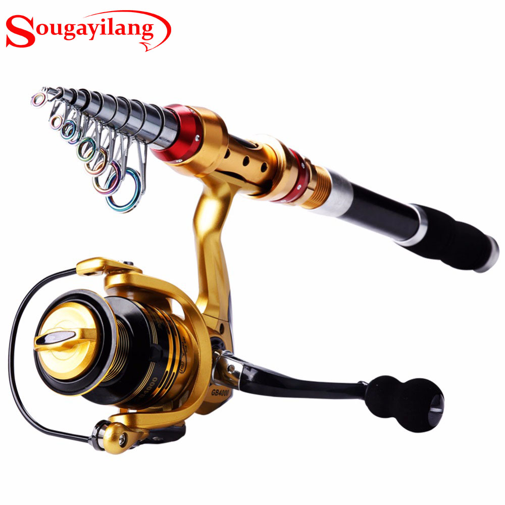 Sougayilang Fishing Rod with Reel Combo 2.1-3.6M Carbon Portable Telescopic Fishing Rod Pole with 14BB Spinning Fishing Reel Set 2 1m fishing rod reel kit telescopic spinning rods portable mini pen fish rod telescope spin fishing pole rod reel combo tackle