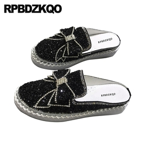 Image 3 - Diamond Mules Crystal Japanese Slippers Muffin Black Silver Platform Bling Women Flats Shoes With Little Cute Bowtie Creepers