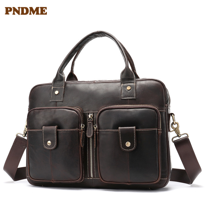 PNDME High Quality Genuine Leather Men's Business Briefcase Cowhide Vintage Designer Luxury Laptop Bag Simple Messenger Bags