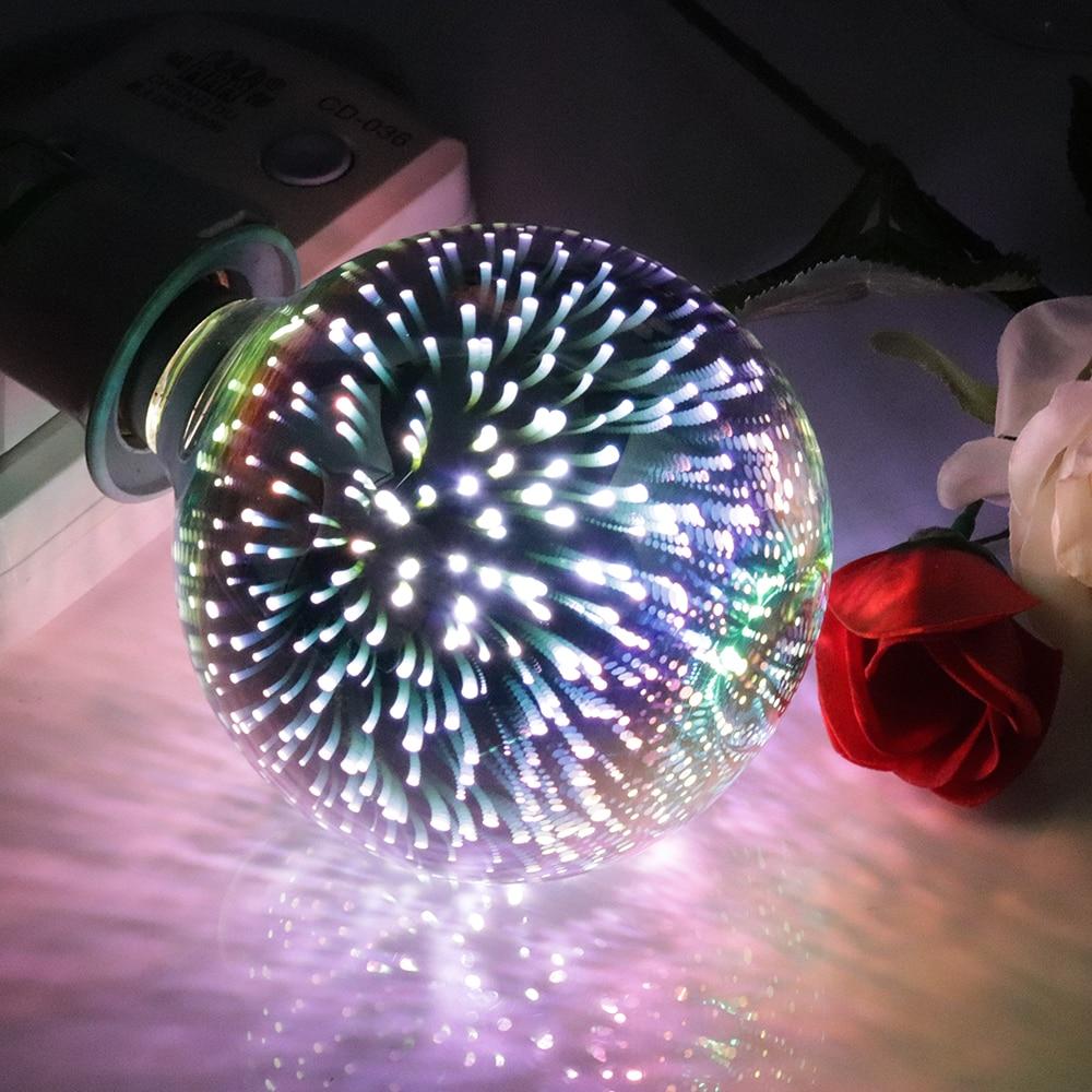 BORUiT 3D LED Lamp G80 G95 E27 LED Light Bulb Fireworks Atmosphere Night Light Cafe Decorative Wedding Pendant Lamp