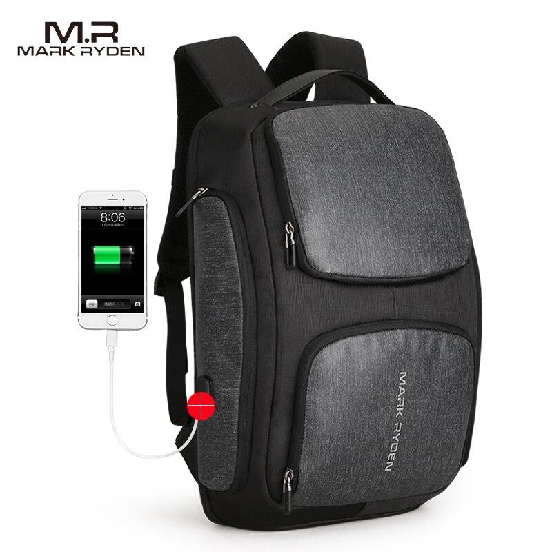 Mark Ryden 2018 New Solar USB Recharging Backpack Water Resistant Backpack Laptop Backpack Men fit for 15.6 Inch Laptop