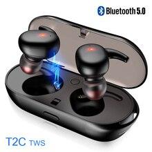T2C наушники-вкладыши TWS Bluetooth 5,0 наушники Беспроводной наушники мини Bluetooth водонепроницаемые наушники с микрофоном зарядным устройством стерео наушники