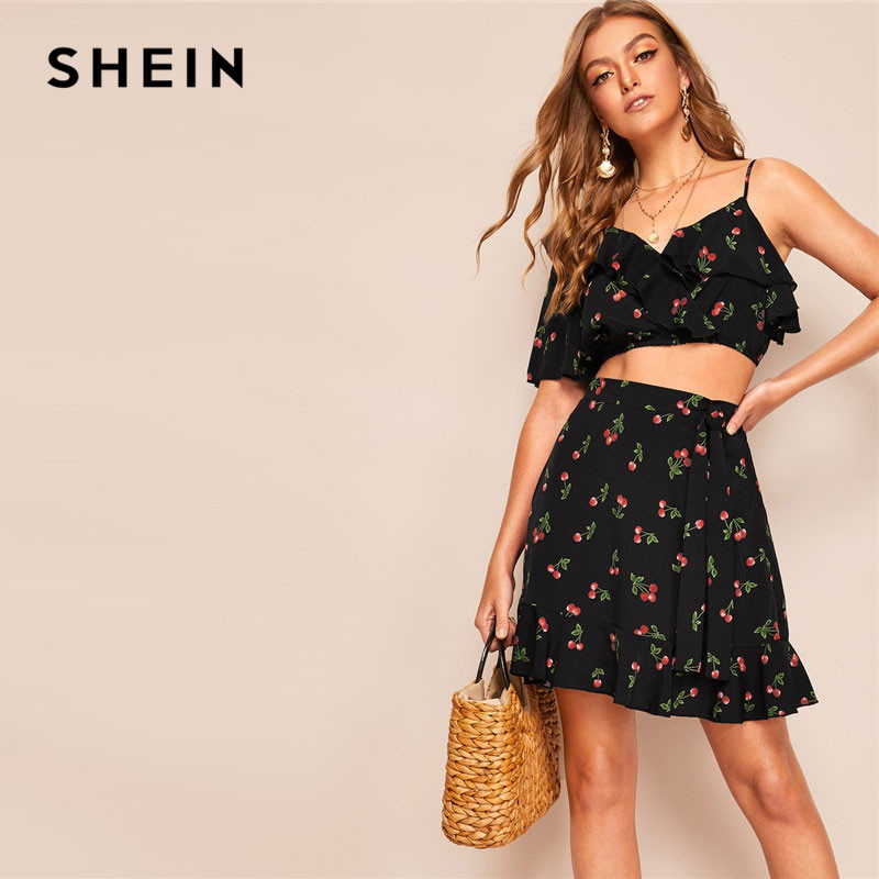 f04388e6c4 SHEIN Boho Black Asymmetrical Neck Cherry Print Crop Top And Ruffle Hem  Skirt Matching Sets Summer