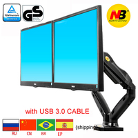 nb F160 27 full motion air press gas strut double lcd tv mount dual monitor screen 360 rotate USB3.0 desktop holder bracket