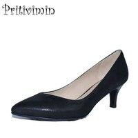 2018 new ladies black pointed toe high heel handmade shoes women sheepskin leather youth fashion designer pumps Pritivimin FN10