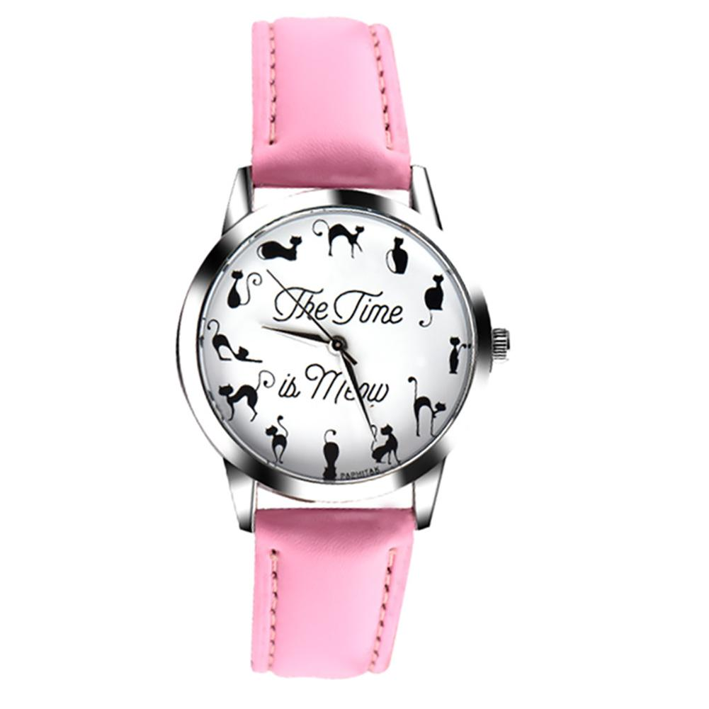 Novelty Cat Letter Dial Quartz Moment Faux Leather Band Couples Wrist Watch New Relogios Feminino Watches