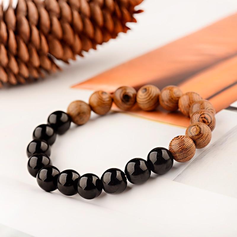 OIQUEI 2019 10mm Natural Wood Beads Yoga Bracelet Men Elastic Buddhist prayer Buddha Bracelets&Bangles Jewelry pulsera hombre
