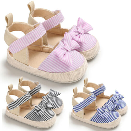 Emmababy Newborn Infant Baby Girl Boy Soft Crib Shoes Infants Anti-slip Sneaker Striped Bow Prewalker 0-18M