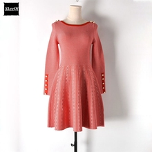 2018 New Slim Basic Knitted Sweater Dresses Women Pleated Plaid Dress Buttons Knit Basic Casual Dress Autumn Knitwear Vestidos