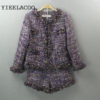 Purple tweed jacket + shorts suits spring / autumn / winter women's jacket new 2pc Set lady's set slim women's shorts set
