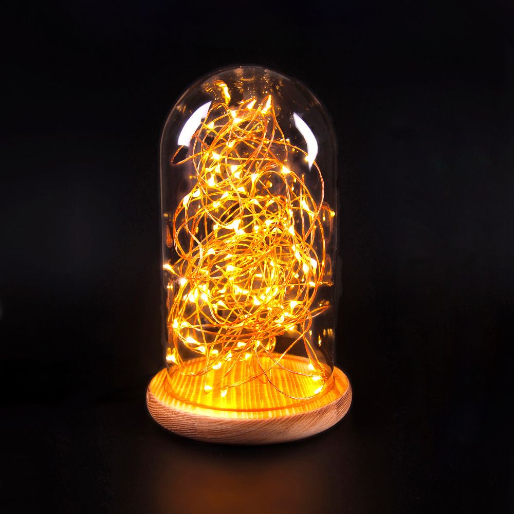 1x Creative Night Lamp Height 22cm Including Led Copper
