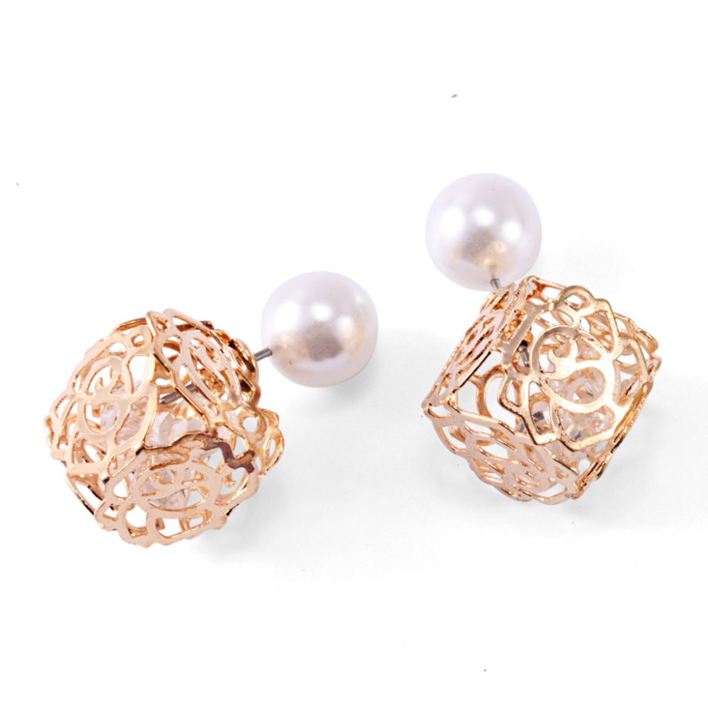 Genuine Brand Designed Trendy Pearl Stud Earrings Hollow Wedding Pearl  Earrings Stud Christmas Jewelry For Women
