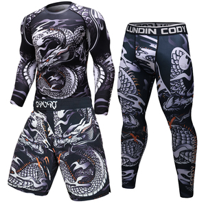 Image 2 - Brand New MMA WorkOut compress men t shirt long sleeves BJJ 3D fitness Tights men Rashguard Tshirt + trousers mens clothing